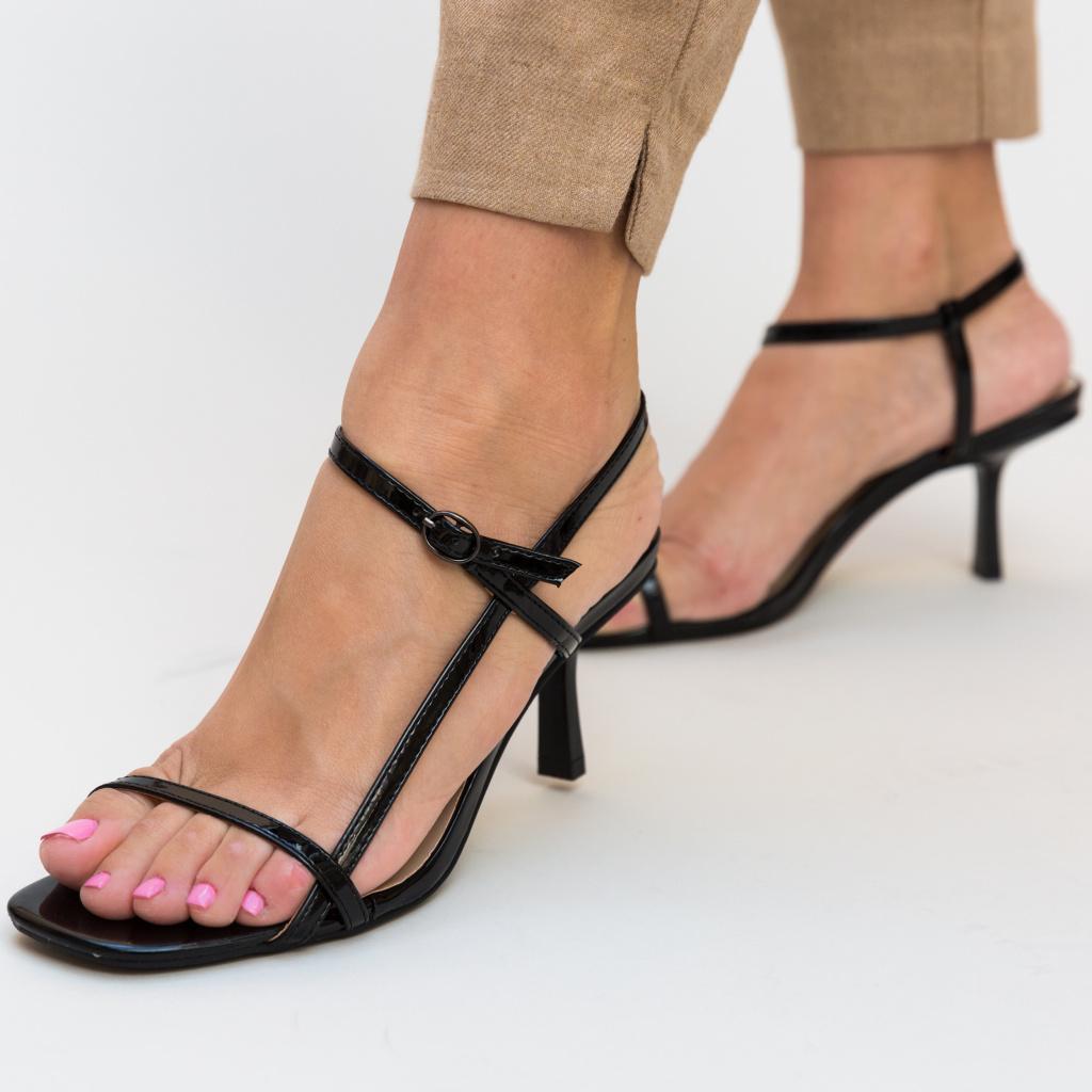 Sandale Hity Negre cu Toc Subtire Elegante de Ocazie